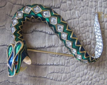 JOMAZ Serpent Snake Enamel, Clear Crystal Pave Set & Gold Tone Statement Brooch Pin. Designer Signed FIGURAL Collectible Reptile Animal Pin
