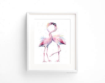 Two Flamingos Art Print Pink Flamingo Watercolor Art Flamingo Wall Art Flamingo Decor Pink Flamingo Watercolor Tropical Whimsical Birds