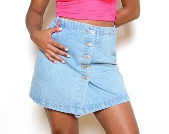 Vintage 90's No Excuses High Waisted Button Denim Skirt Sz 30W