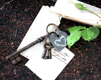 Old key chain with an old key, two little keys and a zinc tag