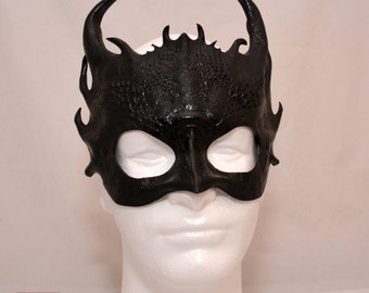 Black Obsidian Leather Dragon Smaug Inspired Cosplay Mask