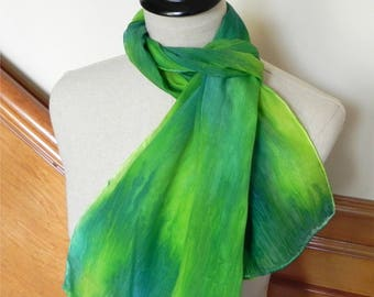 Green and yellow hand dyed crepe silk scarf, ready to ship