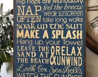 Large Beach Rules Wooden Typography Primitive Sign