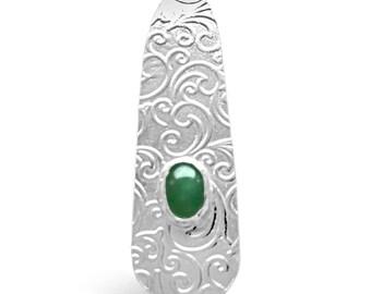 Aventurine and Sterling Silver Pendant, Aventurine Pendant, Gift for Her, Handmade in Scotland, Silver Aventurine Pendant