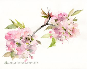Pink spring blossom, Original watercolour painting, spring flowers painting