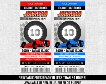 RACE CAR TICKET Invitations Birthday Party Go Kart Racing - Any Age - (print your own) Personalized Printable Files