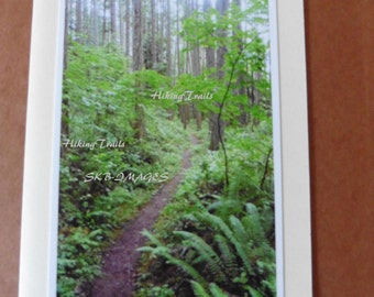 Photo Note Card- Hardesty Trail, In OR, hiking trail decor, forest path wall art, woodland style, greeting card, Fine Art Photography