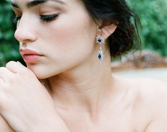 Sapphire Bridal Earrings, Sapphire Earrings, CZ Bridal Earrings, Wedding Earrings, Something Blue Bridal Earrings - JADA Earrings