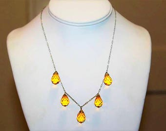 Antique Art Deco Faceted Amber Tear Drop Czech Glass Sterling Silver Dazzling Necklace NC8