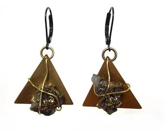 Gold Druzy Earrings | Triangle Earrings | Geometric Earrings | Brass Earrings | Druzy Dangle Earrings | Gold Quartz | Druzy Crystal Earrings