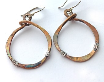 Boho Style Earrings, Mixed Metal Earrings, Tribal Earrings, Unique Bronze Earrings, Dangle and Drop Earrings, Patina Earrings, Gift for Her