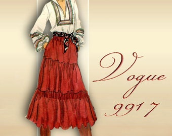 Peasant Skirt 1970s Pattern Stevie Nicks Bohemian Style Skirt with Pockets Three Variations Tiers or Ruffles Vogue Skirt 9917