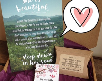 Gift Box, a sweet gift for your best friend, girlfriend or fiancé. Positive quotes. Inspirational quote. Care Package.