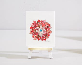 Flower painting, mini watercolor, original art and desk easel, red contemporary art, Christmas holiday decor, hostess gift, original artwork