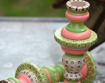 Set of Two Handpainted Macarons Candlestick Holders