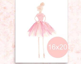 Ballet Poster, Blush Ballerina Print, 16x20 Poster, Ballerina Art, Girls Ballet Decor, Blush Girls Decor, Ballerina Decor, Ballet Gift
