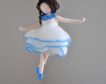 Blue  Ballerina  Felted Doll Wool Ornament    :  Dancing