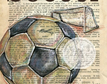 PRINT:  Soccer Mixed Media Drawing on Antique Dictionary Page
