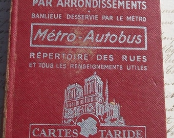 Vintage French Guide Book Paris Fold out Map of Paris Colour 1960s Tourist A -Z Gazetteer