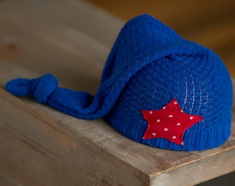Nautical Newborn Hat Upcycled Newborn Hat Red White and Blue Stocking Cap with Star Elf Hat READY TO SHIP Photography Prop, Newborn Boy Hat