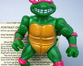 Vintage TMNT Wacky Action Breakfighting Raphael Figure With Original File Card C85