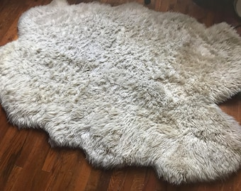 Vintage HUGE Sheepskin Shearling Bohemian Gypsy Throw Rug