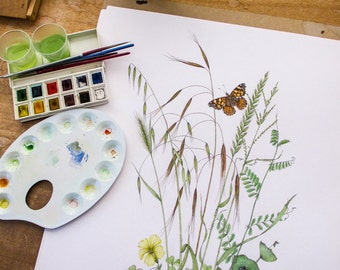 Painted Lady Butterfly with Grasses