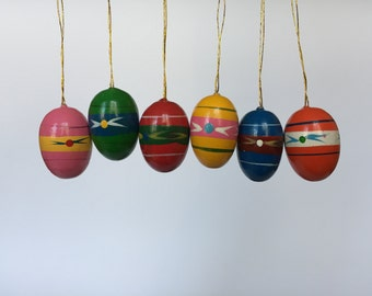 Set of 6. Vintage Hand Painted Easter Egg Ornaments. Vintage German. 2017_033