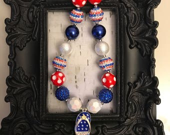 Patriotic, red, white and blue, july 4th flip-flop chunky bubblegum necklace