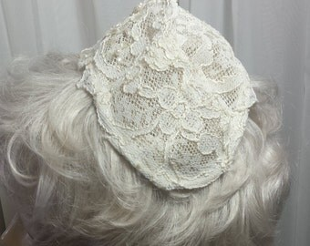 Vintage Ivory Juliet Bridal Veil Cap