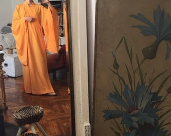 Vintage Yellow orange maxi kimono / wide robe