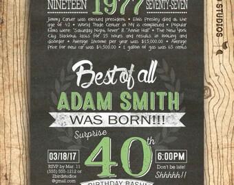 40th birthday invitation- Surprise 40th birthday invite - chalkboard DIY printable invitation for milestone birthday party - over the hill