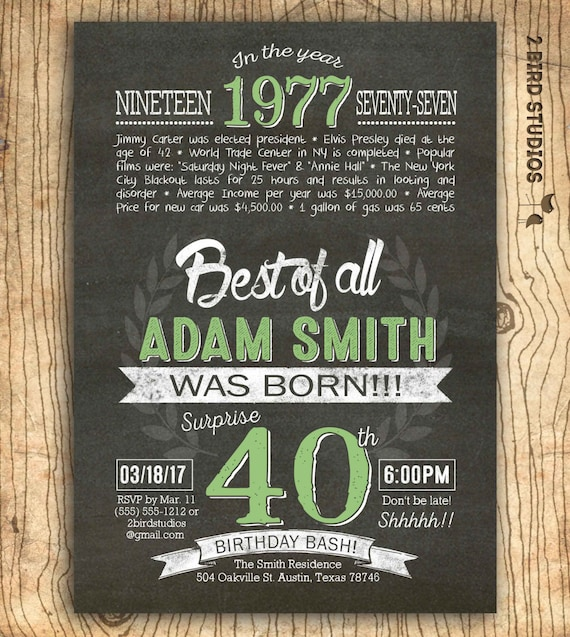 40th Birthday Invitation Surprise 40th Birthday Invite