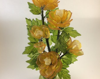 yellow lucite flower bouquet clear plastic blooms green lucite leaves 70s flower decor