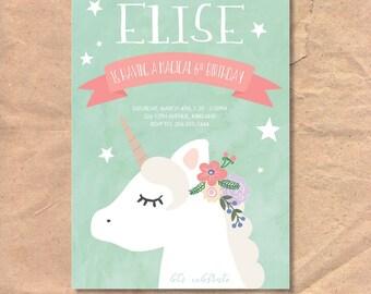 Printable Unicorn Birthday Invitation