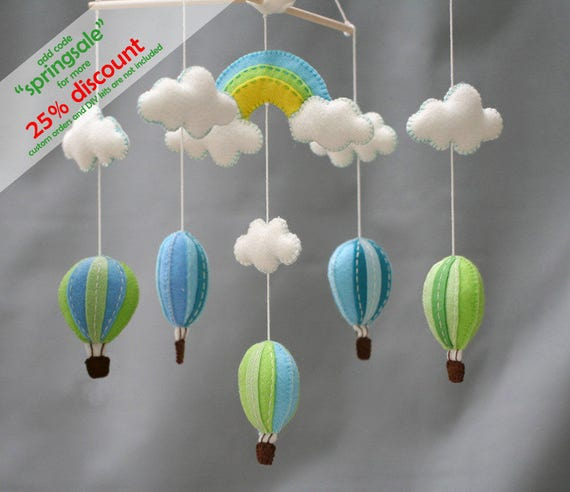 Rainbow and hot air balloons baby mobile - Blue and green - beautiful sky baby mobile