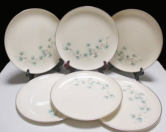 Taylor Smith Taylor Mid Century - Versatile Shape - Blue Lace Pattern - Dinner Plates - Set of 6