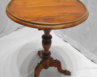 Solid Wood Round Pedestal Base Claw Foot Lamp Table Accent Side End Table Nightstand