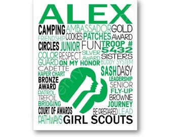 Girl Scouts Art Canvas or Print, Girl's Room Art, Choose Any Colors, Gift for Girl Scout Daisy Brownie Ambassador Cadette or Troop Leader