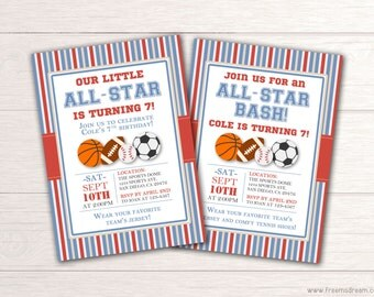 All-Star Sports Invitation - Printable Sports Birthday Invite - All Star Bash Invitation - Sports Themed Birthday Party Package - BP12