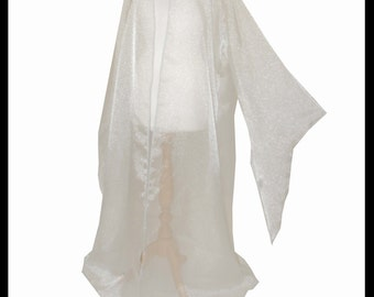 Beautiful Ivory Shimmer Organza Cloak with Sleeves. Ideal for a Summer Wedding, Handfasting or Medieval Event. Made Especially For You.