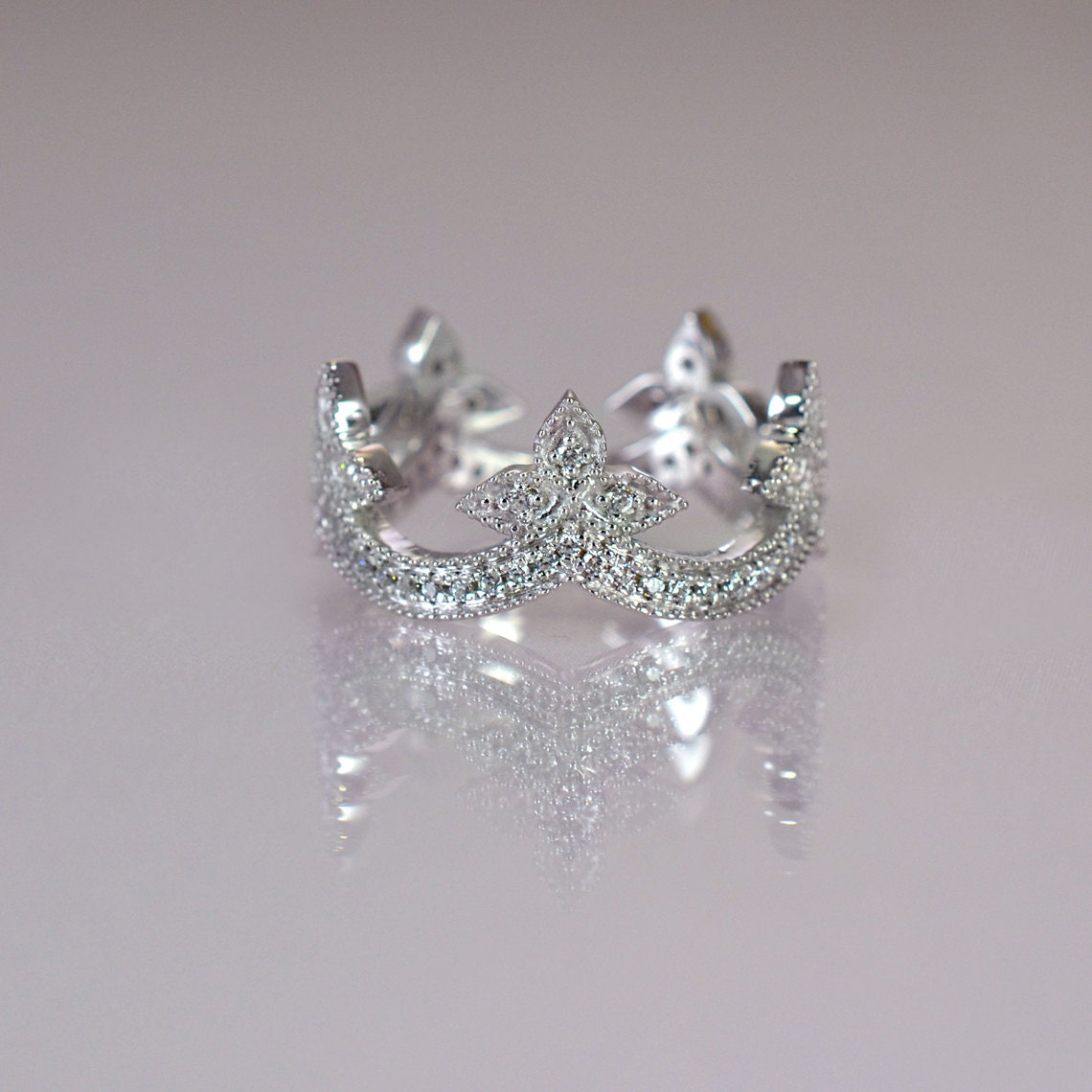 crown wedding band diamond engagement ringwhite gold tiara