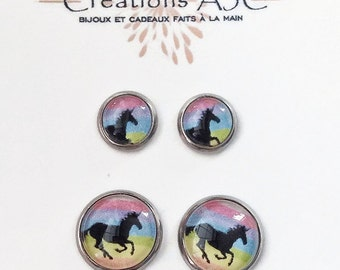 Stainless steel, Mommy and me, Unicorn black and multicolor, Rainbow sky, delicate, duo earrings on stem, in Quebec, fantastic