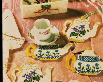 Adorable Vintage Bucilla Plastic Canvas Six Teapot Coasters Kit Includes Holder Unused & Complete Cross Stitch Supplies Tea Party Supply