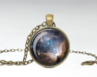 Beautiful Bright Nebula Necklace, Starry Constellation Galaxy Pendant, Astrology Astronomy Cloudy Jewelry [A21]