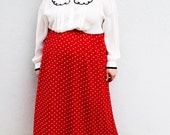 Plus Size - Vintage Red & White Polka Dot Midi Skirt (Size L 12/14)