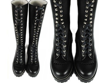 HUXLEY Lace to Toe Logger Boots >> Black leather Tall Boots >> Heavy Duty Boots >> Badass Boots