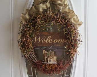 Year Round Wreath, Birdhouse Wreath, Year Round Wreath, Berry Wreath, Welcome Wreath, Rustic Wreath, Front Door Wreath, Country Wreath