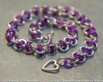 Magenta Purple & Silver Barrel Weave Chain Maille Choker/Bracelet