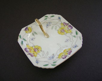 Vintage Rossetti Lemon Dish, Hand Painted China, Gold Handle, Made in Occupied Japan, Pansy, Viola, Candy Dish, Soap Dish, Trinket Plate